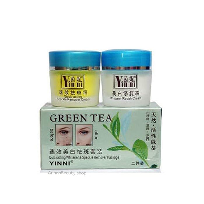 کرم دوقلو ضدلک و سفید کننده چای سبز Yinni